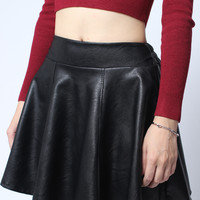 Elastic High Waist PU Leather Mini Skirt * free shipping *