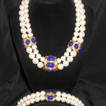Napier Jewelry Continental Two Strand Choker Necklace and Bracelet Faux Pearls & Lapis Fashion Style