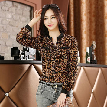 Women Blouse Leopard Print Shirt Long sleeve V -Neck Top Loose Blouses Plus Size Chiffon Shirt Camisa  Clothing