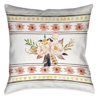 Tribal Flower Pattern Indoor Decorative Pillow