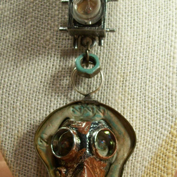 Urban Decay Brutalist Steampunk Dark Grim Gas Mask In Lights Mixed Media Art Necklace Louzart Distressed Grunge Industrial OOAK Ships Free