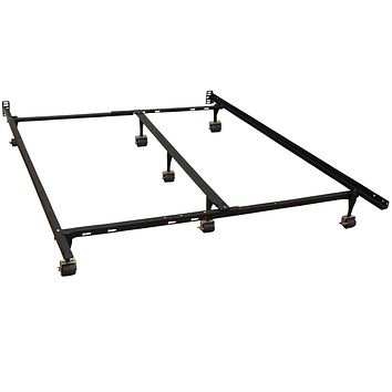 King Size Metal Bed Frame with 7 Legs & Heavy Duty Locking Rug Roller Wheels