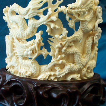 Large Ivory Pair of Animal Carvings