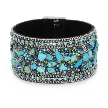 VONNOR Jewelry Women Leather Bangles Bracelets with Magnetic clasp Colorful Stones Beads Wrap Bracelets Female Accessories