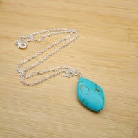Turquoise Necklace, Simple Gemstone Pendant