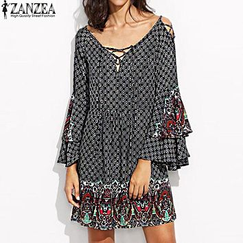 ZANZEA Sexy Women Floral Print Lace Up V Neck Casual Loose Ruffles Butterfly Sleeve Party Eveing Ladies Mini Dress Plus Size