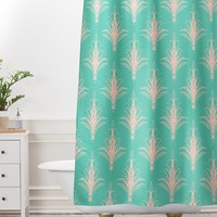 Lisa Argyropoulos Cabana Blush Mint Shower Curtain And Mat