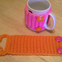 Bright Pink and Orange Button mug cozy set, Crochet Mug Cozy, coffee cup cozies, koozie