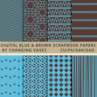 Digital Scrapbook Paper Pack Light Blue and Brown, Geometric Stripes Aztec Chevron Pattern, Texture, Clipart Clip Art, Photo Background
