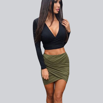 Vintage High Waist Mini Skirts Womens Sexy Pencil Women Skirt Clubwear Bandage Bodycon Skirt 2016 Summer Style Saia Faldas Mujer