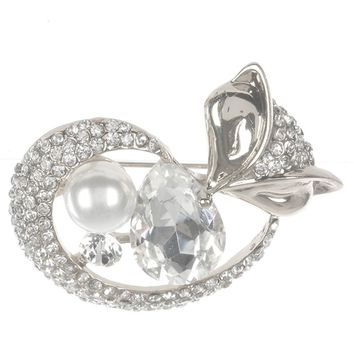 Pave Crystal Stone Metal Fox Pin And Brooch 14