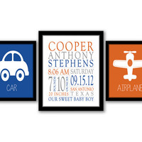 Birth Stats Wall Art, Car, Airplane, Set of 3, Blue, Orange, Gray, Nursery Art, Baby Name Art, Transportation Art,  Nursery Decor, Printable