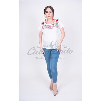 Mexican Tehuacan Embroidered Blouse White