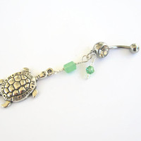 Jade Turtle Belly Ring, Tortoise Belly Button Ring, Turtle Belly Piercing, Nature Inspired, Sea Turtle Body Jewelry, Large Silver Turtle