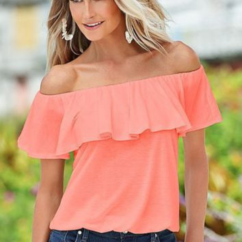 Elegant word falbala collar solid colored body all-match top blouse shirt off shoulder