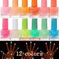 12 colors Glow in the Dark Neon Fluorescent Nail Art Polish Lacquer Varnish 7ml