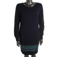 Tommy Hilfiger Womens Knit Ribbed Trim Sweaterdress