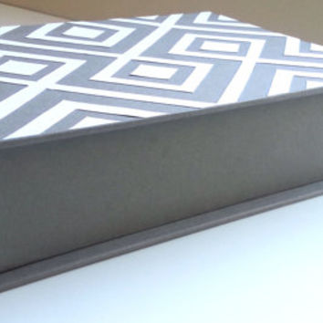 Keepsake Box -Geometric Pattern Design 5x7 Hand-bound Handmade Gift Customized Contemporary