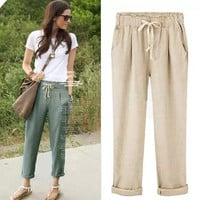 Womens Summer Elastic Waist Breathable Cotton Pants in 3 Colors +Necklace
