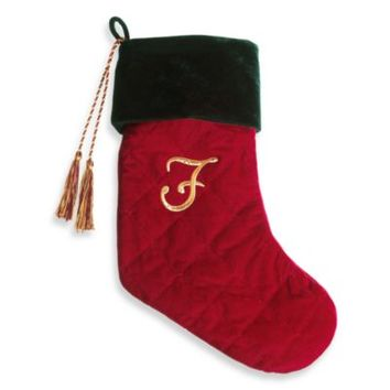 Harvey Lewis™ Monogram Initial F Christmas Stocking Made with Swarovski® Elements