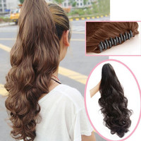 """3 Color Real Thick  Wavy 18"""" Long 140g Synthetic Claw Ponytail Hair Piece Pony Tail Hair Extensions  Free Shipping"""