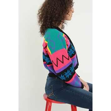 Bright 80s Cropped Cardigan
