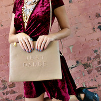 Just Dance Oversized Beige Clutch With Detachable Chain Strap