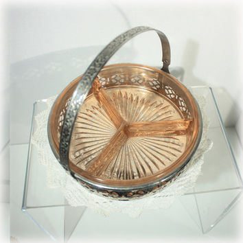 Pink Depression Glass Three Part Relish Dish in Pierced Metal Basket