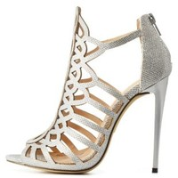 Silver Laser Cut-Out Caged Glitter Heels by Charlotte Russe