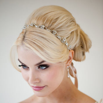 Ribbon and Rhinestone Headband Wedding Hair by PowderBlueBijoux