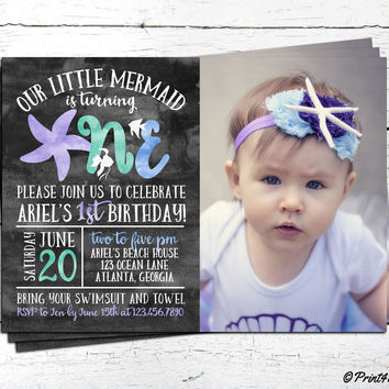 1st Birthday Mermaid Invitation // Personalized Printable Under The Sea First Birthday Mermaid Photo Invitation // Under The Sea Invite