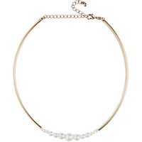 River Island Womens Gold tone short pearl necklace