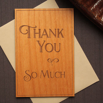 Unique Thank You Cards - Wooden Thank You Card