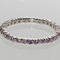 Sterling Silver Amethyst CZ Cubic Zirconia Stackable Band Ring sz 4 5 6 7 8 9 10