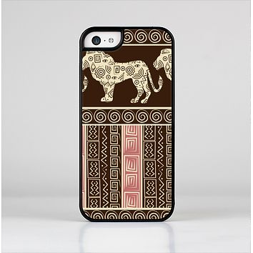 The Aztec Pink & Brown Lion Pattern Skin-Sert Case for the Apple iPhone 5c