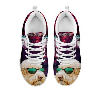 Cute Goldendoodle With Glasses Print Running Shoes For Women- Free Shipping- For 24 Hours Only