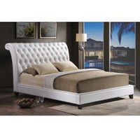 Baxton Studio Jazmin Tufted Modern Bed with Upholstered Headboard