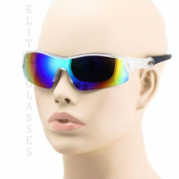 2 PAIR OUTDOOR SPORT WRAP AROUND Cycling Fishing Mirrored Baseball Sunglasses