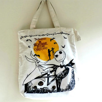 Canvas Zippered Tote Bag Tim Burton the Nightmare before Christmas,