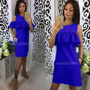 Solid 5 Colours Cold Shoulder Ruffles Embellishment Summer Dress O-Neck Butterfly Sleeve Casual Dress Party Mini Dresses
