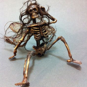 Custom made Dead Fairy Goth art doll miniature Halloween skeleton pixie dollhouse cicada wings Renaissance faire ooak costume accessory