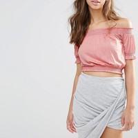 Boohoo Bardot Frill Crop Top at asos.com