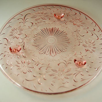 Vintage Pink Depression Glass Footed Cake Plate, Cake Stand, Shaggy Daisy Pattern, US Glass Company