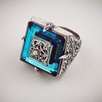 Dimitrios Exclusive 178 ~ Sterling Silver and Swarovski - Medieval Byzantine Ring