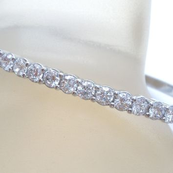 Sterling Silver CZ Hinged Bangle Bracelet
