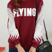 Burgundy Wing Printed Sweatshirt