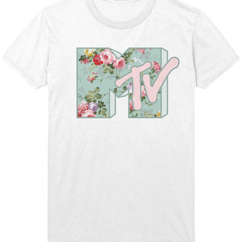 MTV Floral Logo T-Shirt - Music Television Indie Rock Daria Beavis and Butthead Shirt / Vest / Sweatshirt - Mens / Womens