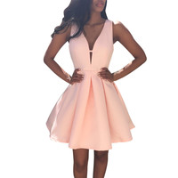 style Sexy Dress Women Deep VNeck backless Sleeveless pink dresses Party slim Aline Vestir CF