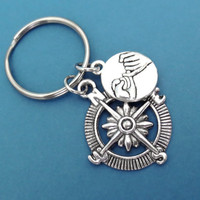 Promise, Compass, Keychain, Best, Friend, Forever, Promise, Keyring, Key chain, Key ring, Friendship, Graduation, Gift, Jewelry