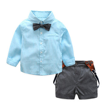 2pcs Baby Boys Clothing Set Spring Autumn Long Sleeve Shirt+ Pants Shorts Toddler Gentlemen Bowknot Suspender Shirt Outfit